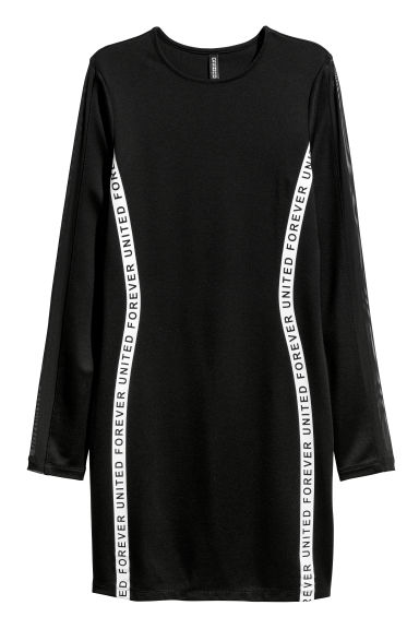 Fitted jersey dress - Black/Forever United -  | H&M