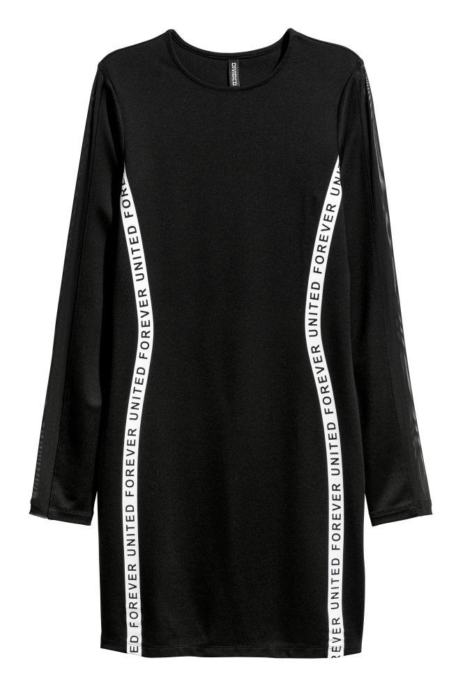 098888520 Vestido entallado de punto - Negro/Forever United - MUJER   H&M ...