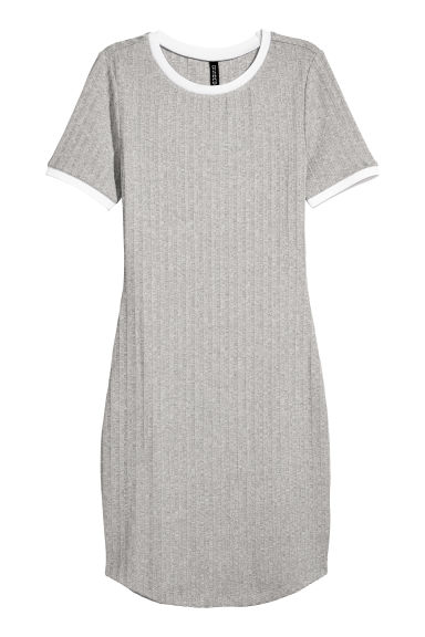 Ribbed Dress - Light grey marl/White -  | H&M IE
