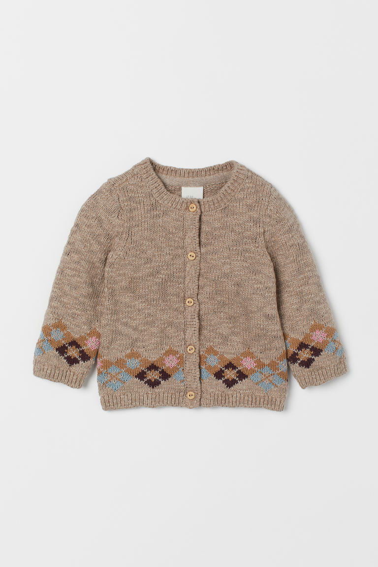 Slub-knit cardigan - Dark beige - Kids | H&M