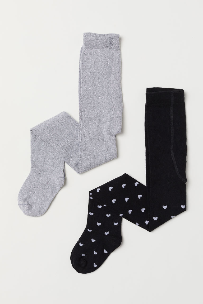2-pack fine-knit tights - Black/Hearts - Kids | H&M