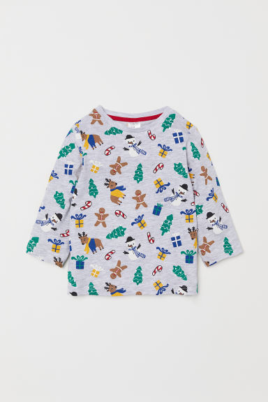 Jersey top - Light grey marl/Patterned - Kids | H&M CN