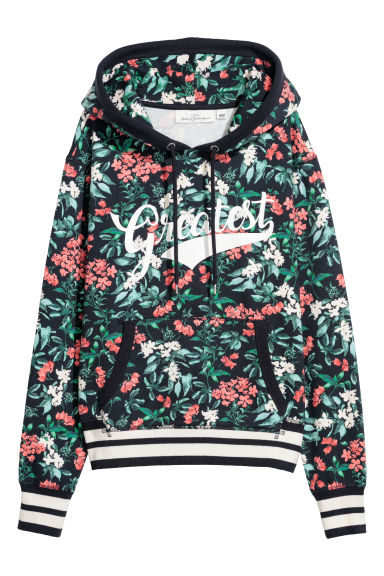 Printed hooded top - Dark blue/Patterned - Ladies | H&M IE