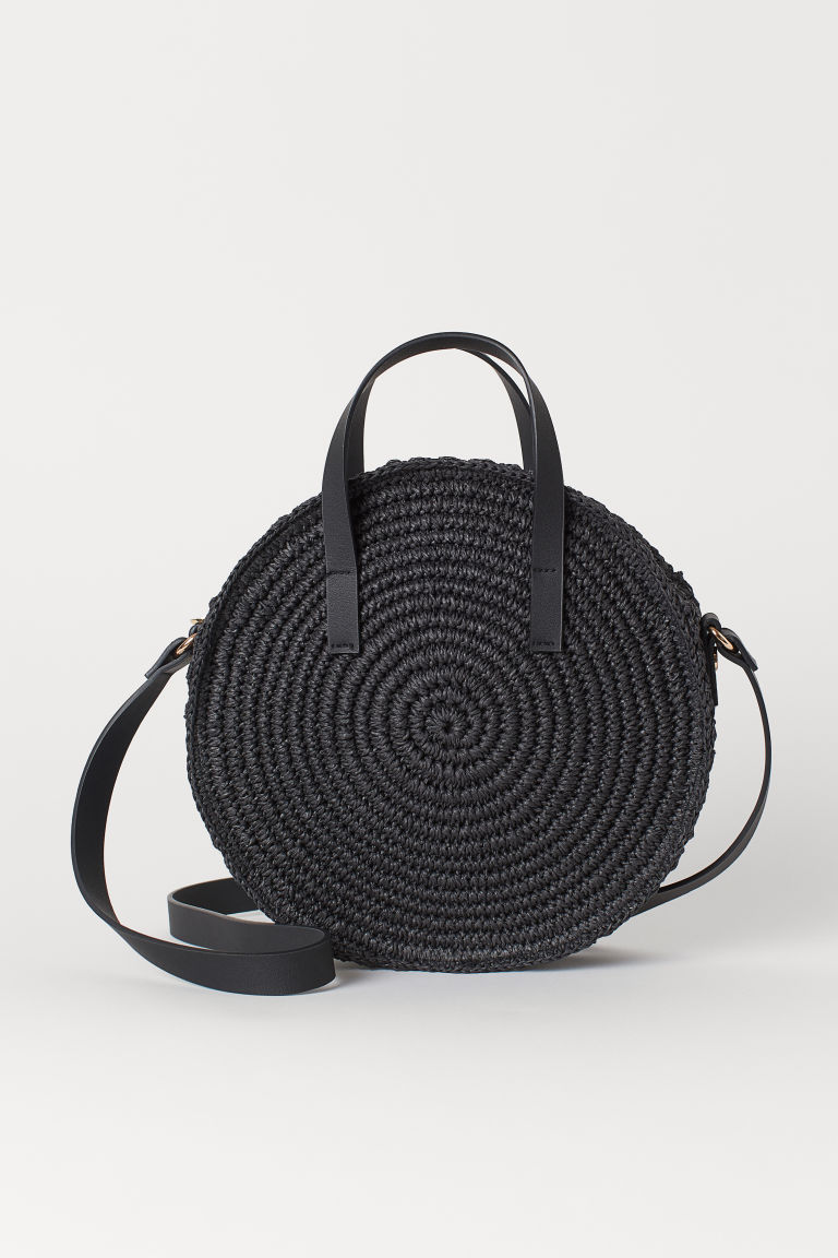Round paper straw handbag - Black - Ladies | H&M CN