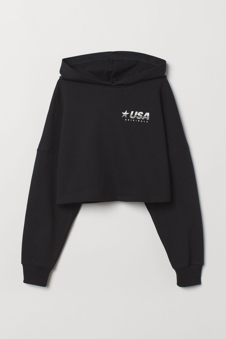 Cropped hooded top - Black/USA -  | H&M CN