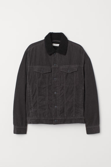 Pile-lined corduroy jacket - Dark grey - Men | H&M CN