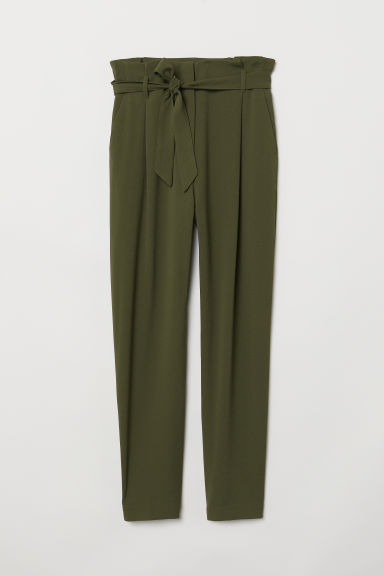 Paper bag trousers - Dark khaki green - Ladies | H&M