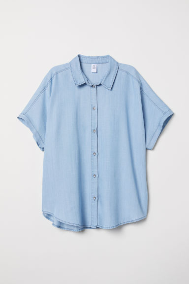 Lyocell denim shirt - Light denim blue - Ladies | H&M CN