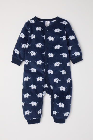 Fleece all-in-one pyjamas - Dark blue/Elephants - Kids | H&M