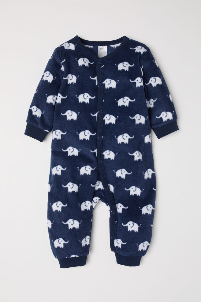 ae44aa30c71c Fleece all-in-one pyjamas - Dark blue Elephants - Kids