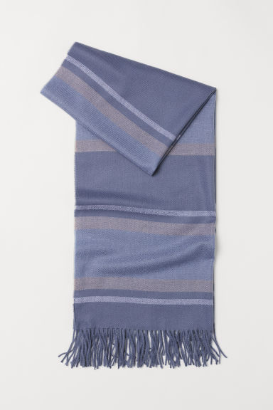 Woven scarf - Light blue/Block-patterned -  | H&M