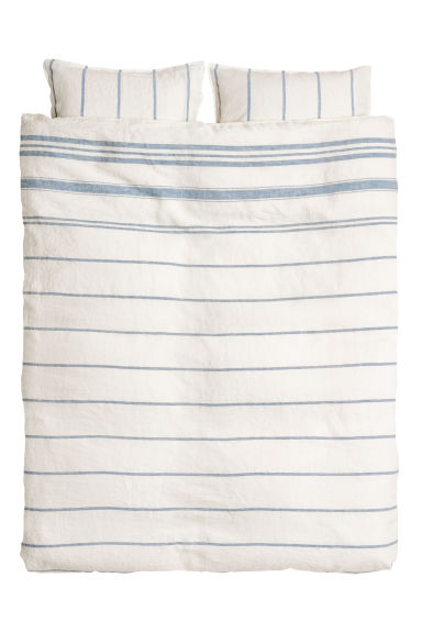 Washed linen duvet cover set - White/Blue striped - Home All | H&M CN
