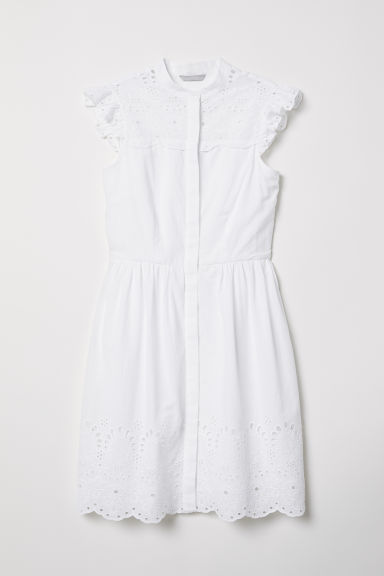 Embroidered cotton dress - White - Ladies | H&M CN