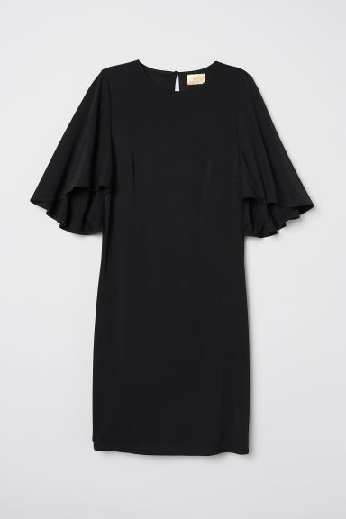 Butterfly-sleeved dress - Black - Ladies | H&M