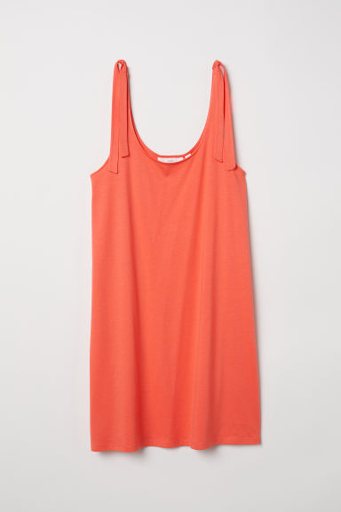 Jersey dress with ties - Coral red - Ladies | H&M