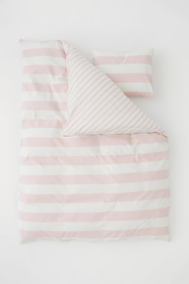 Striped duvet cover set - Pink/Natural white - Home All | H&M CN