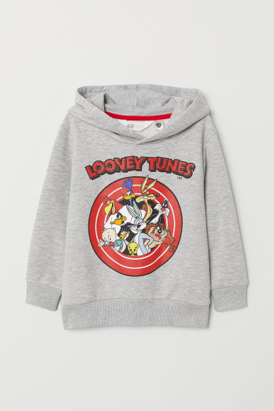 Printed hooded top - Grey marl/Looney Tunes - Kids | H&M CN