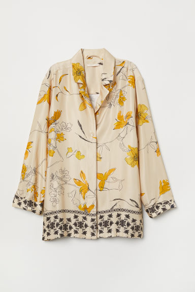 Patterned blouse - Beige/Patterned -  | H&M CN