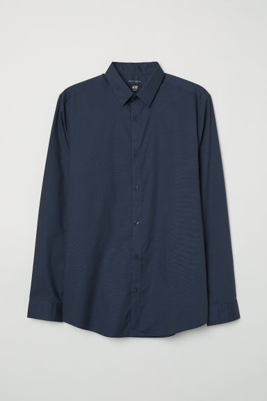 Easy-iron shirt Slim fit - Dark blue - Men | H&M