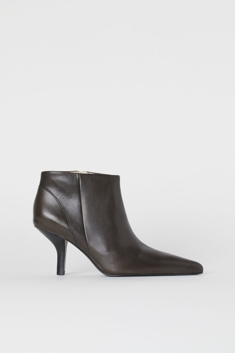 Leather Ankle Boots - Dark brown - Ladies | H&M US