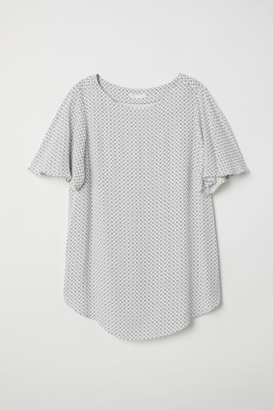 MAMA Short-sleeved top - White/Patterned - Ladies | H&M