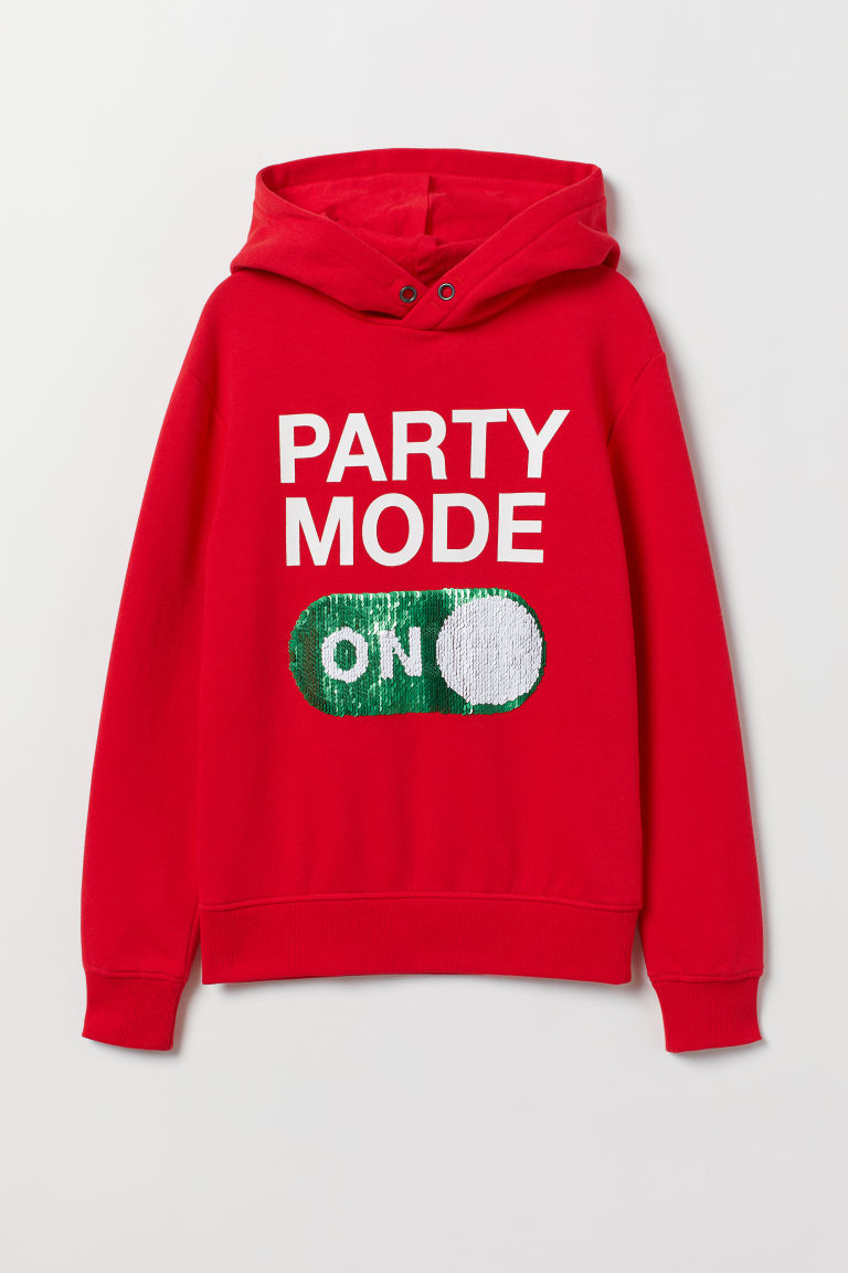 Printed hooded top - Red/Party Mode - Kids | H&M CN