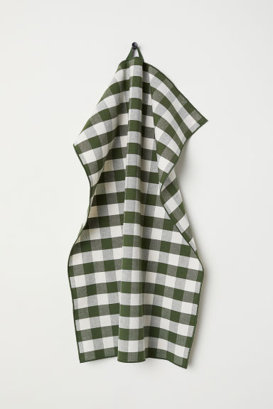 Linen-blend tea towel - Green/Checked - Home All | H&M CN