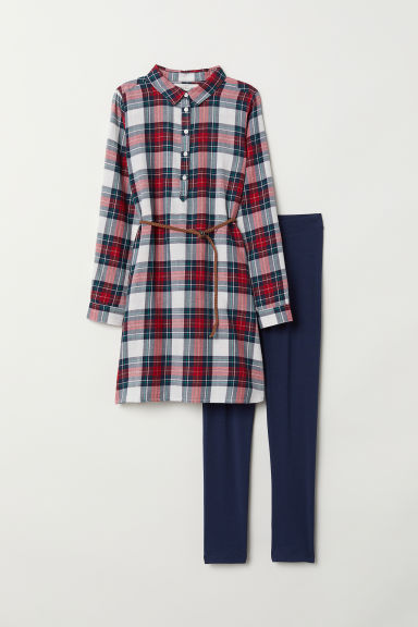 Dress and leggings - Dark blue/Checked - Kids | H&M