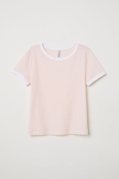 Short T-shirt - Powder pink - Ladies | H&M CN