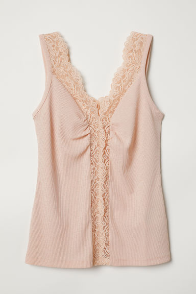 Vest top with lace - Powder pink - Ladies | H&M CN
