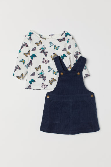 Dungaree dress and top - Dark blue/Butterflies - Kids | H&M