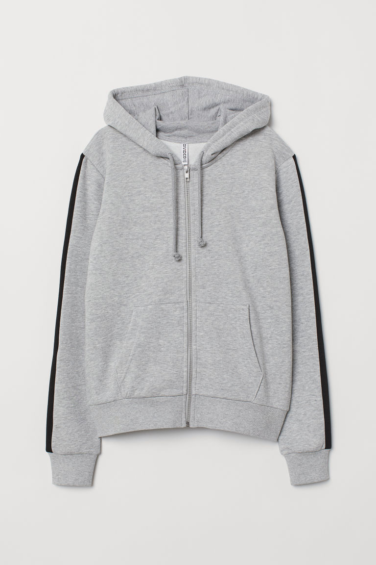 Hooded jacket - Light grey marl -  | H&M