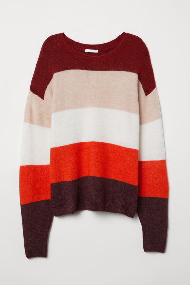 Knit Sweater - Red/pink striped - Ladies | H&M US