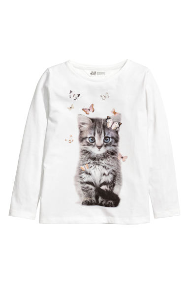 Top en jersey avec impression - Blanc/chat -  | H&M CH