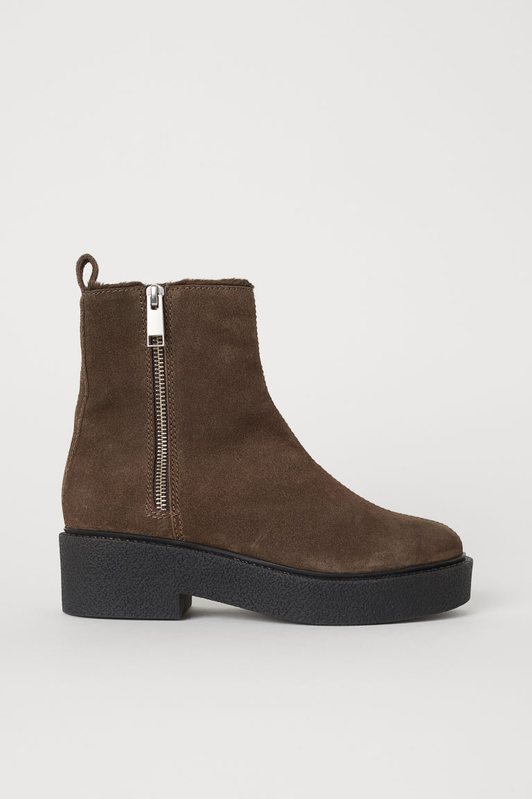 Suede boots - Dark mole - Ladies | H&M CN