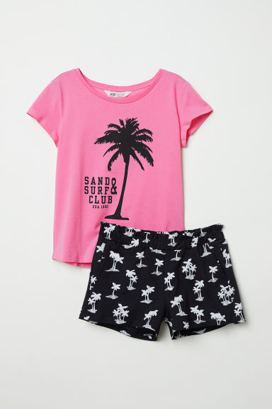 T-shirt and shorts - Pink/Sand & Surf Club - Kids | H&M CN