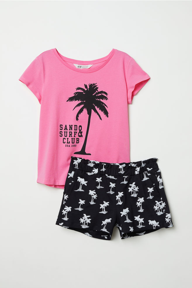 ec1fbc8ef T-shirt and shorts - Pink/Sand & Surf Club - Kids | H&M GB