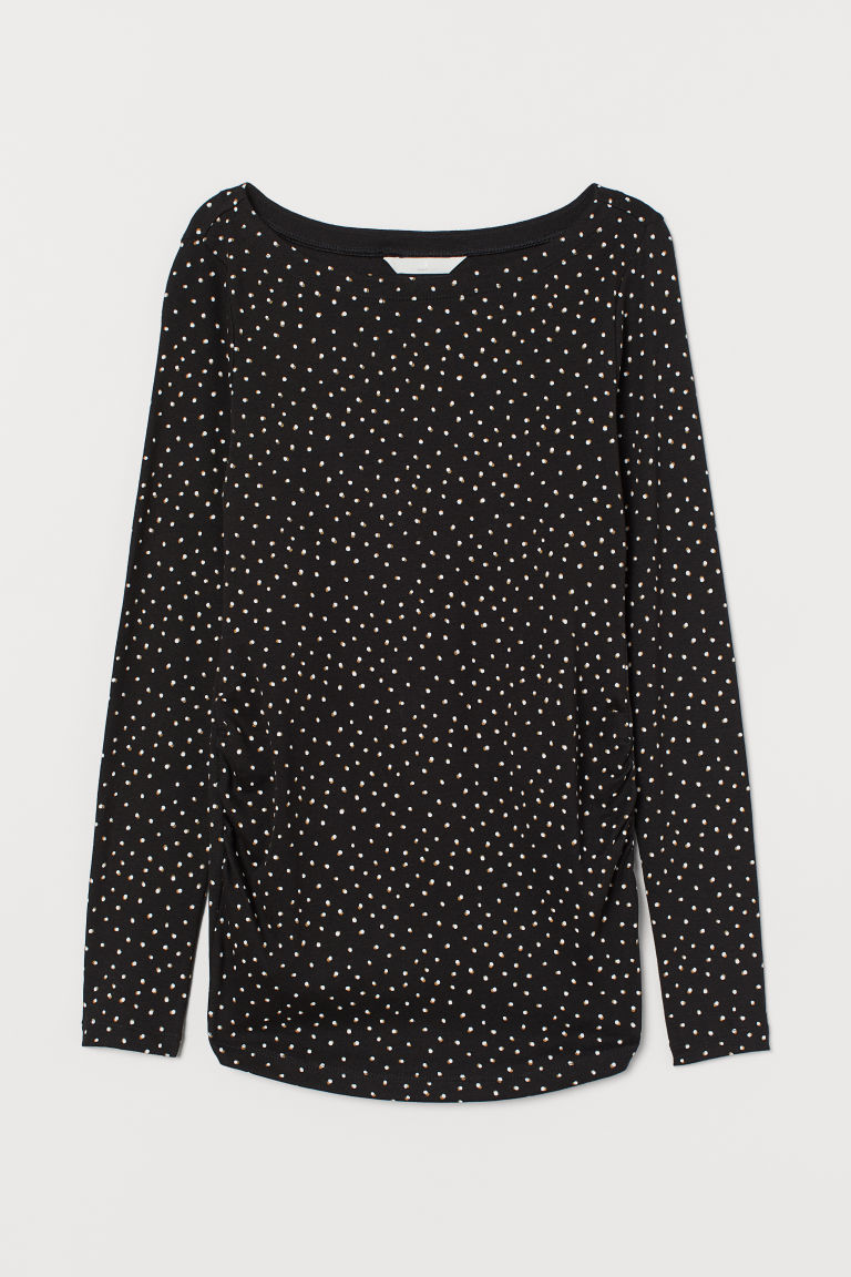MAMA Long-sleeved Jersey Top - Black/dotted - Ladies | H&M US