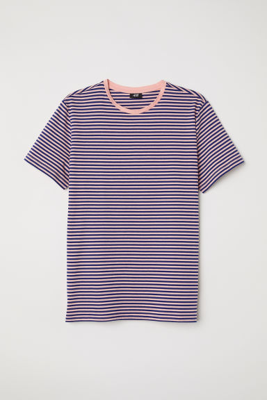 Striped T-shirt - Apricot/Dark blue striped -  | H&M