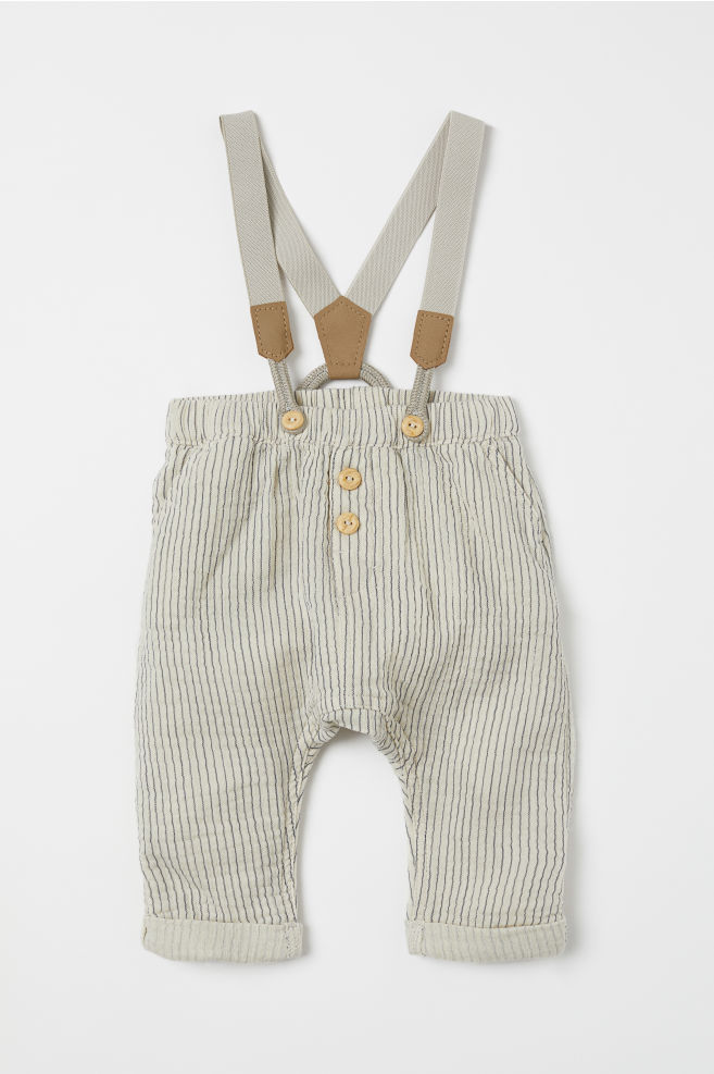 03153b8bd Cotton trousers with braces - Natural white Striped - Kids