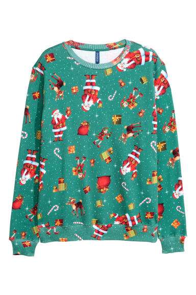 Christmas sweatshirt - Green/Christmas - Men | H&M