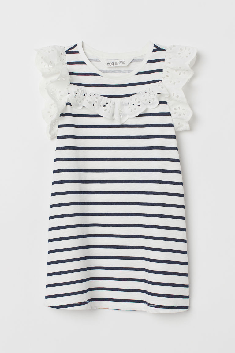 Dress with broderie anglaise - White/Dark blue - Kids | H&M GB