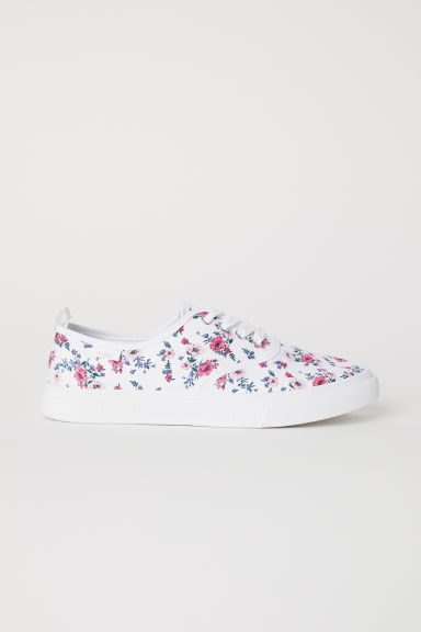 Canvas trainers - White/Floral - Ladies | H&M
