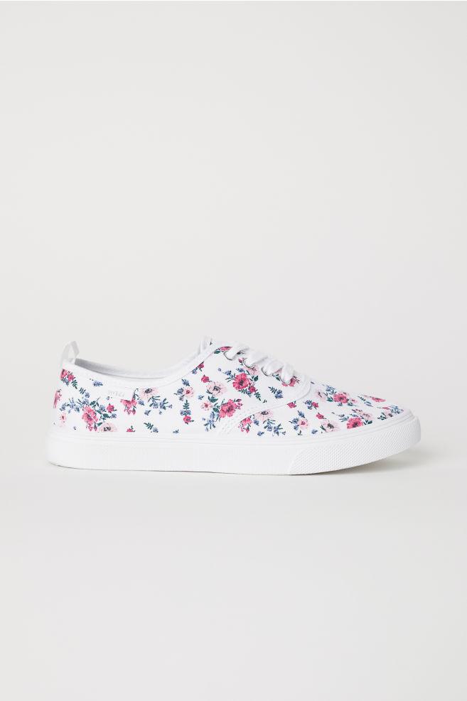 89d1d008 Płócienne buty sportowe - Biały/Kwiaty - | H&M ...