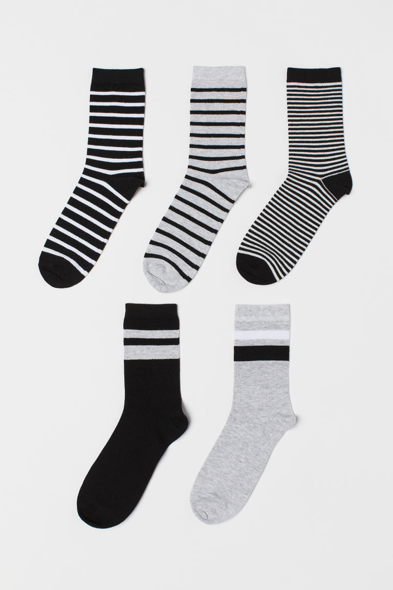 5-pack socks - Black/Striped - Kids | H&M IE