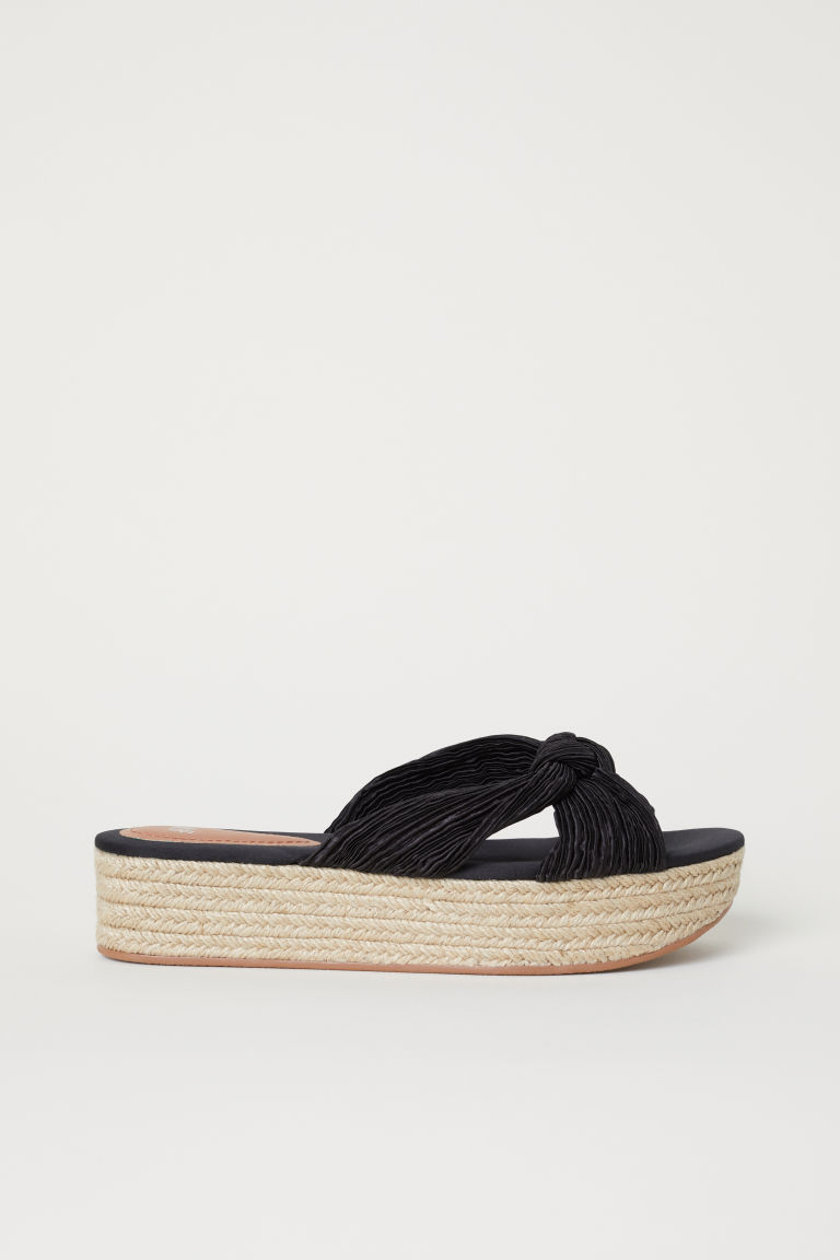Sandali con plateau - Nero/satin - DONNA | H&M IT