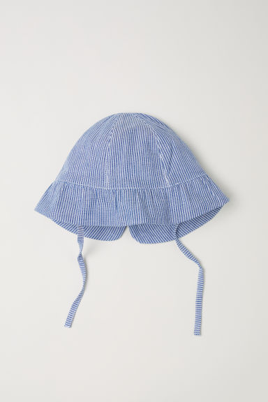 Sun hat with a bow - Blue/White striped - Kids | H&M CN