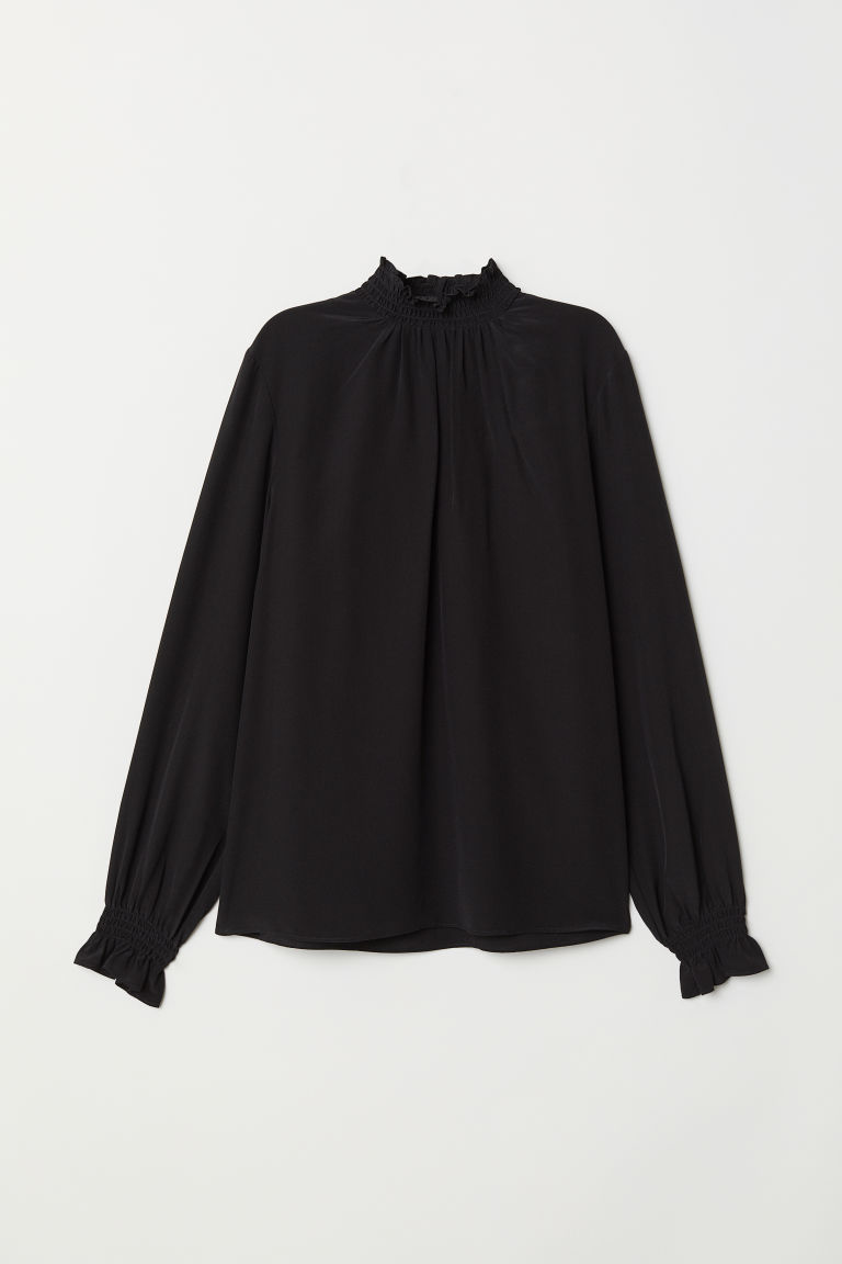Silk blouse with smocking - Black - Ladies | H&M CN