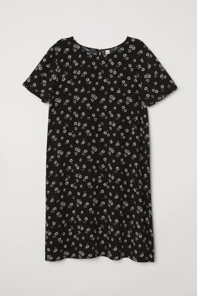 Short-sleeved dress - Black/Floral -  | H&M CN