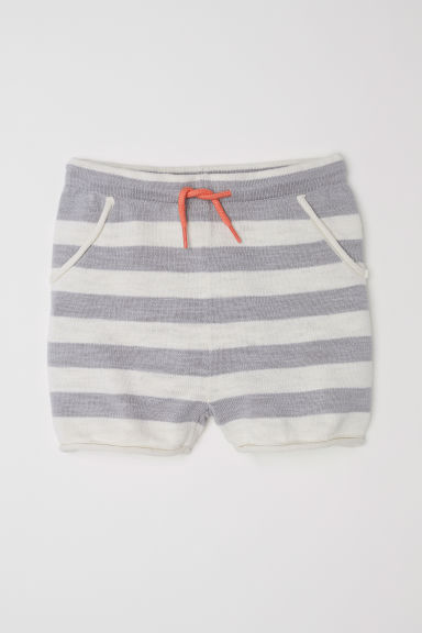 Fine-knit cotton shorts - Light grey/Striped - Kids | H&M